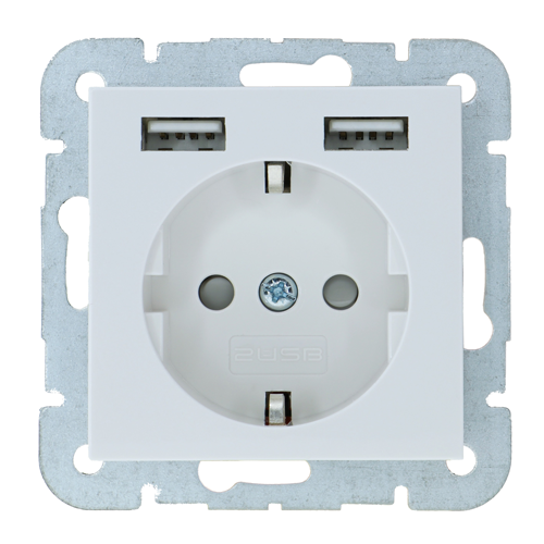 2USB Wall Outlet Usb System 55 Glossy White