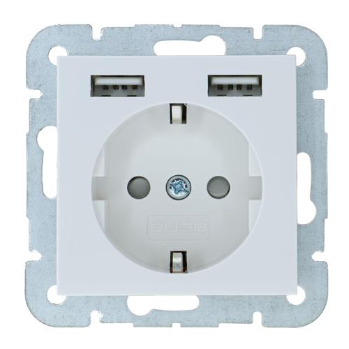 2USB Usb Stopcontact System55 Glossy White