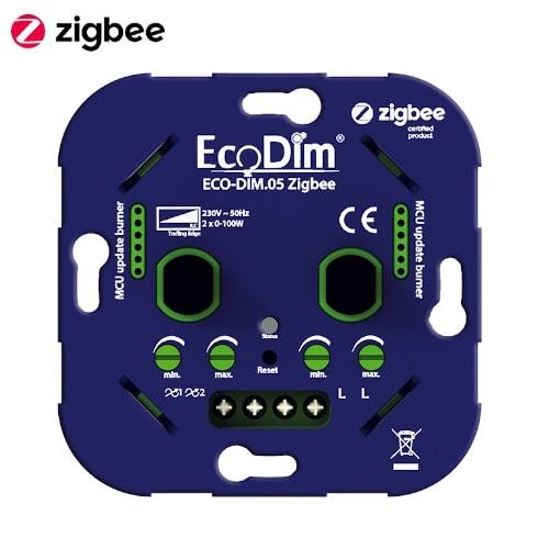 EcoDim Dubbele Inbouwdimmer Zigbee 2x100W