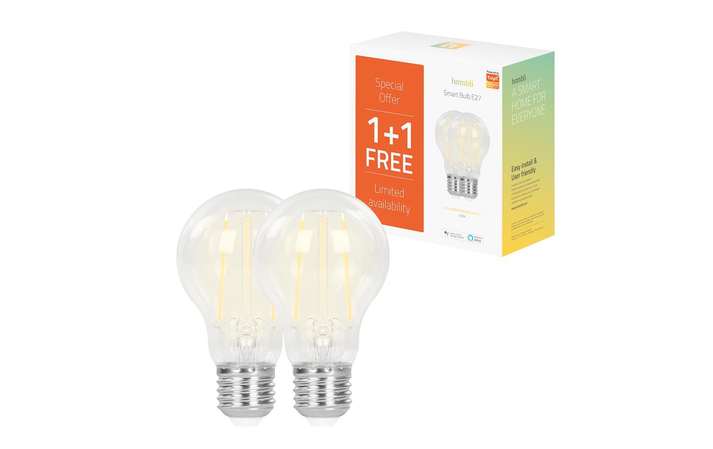 Hombli Slimme Filament Lamp E27 7W WiFi 1 + 1 gratis