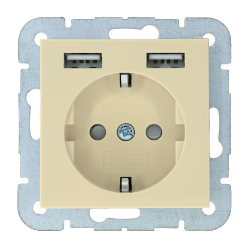 2USB Wall Outlet Usb System 55 Glossy Creme
