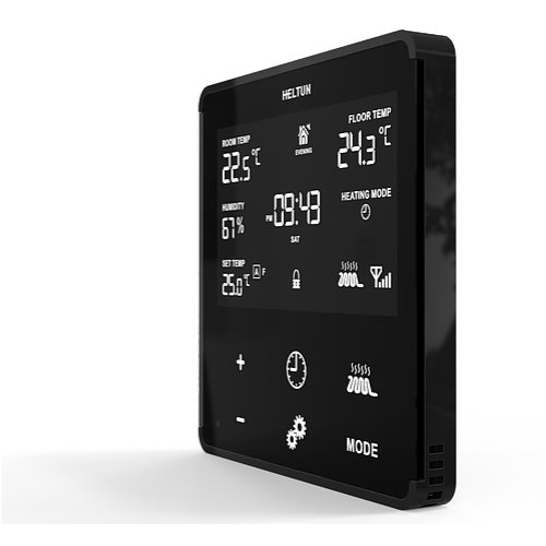 Heltun Wall Thermostat Z-Wave Plus Black