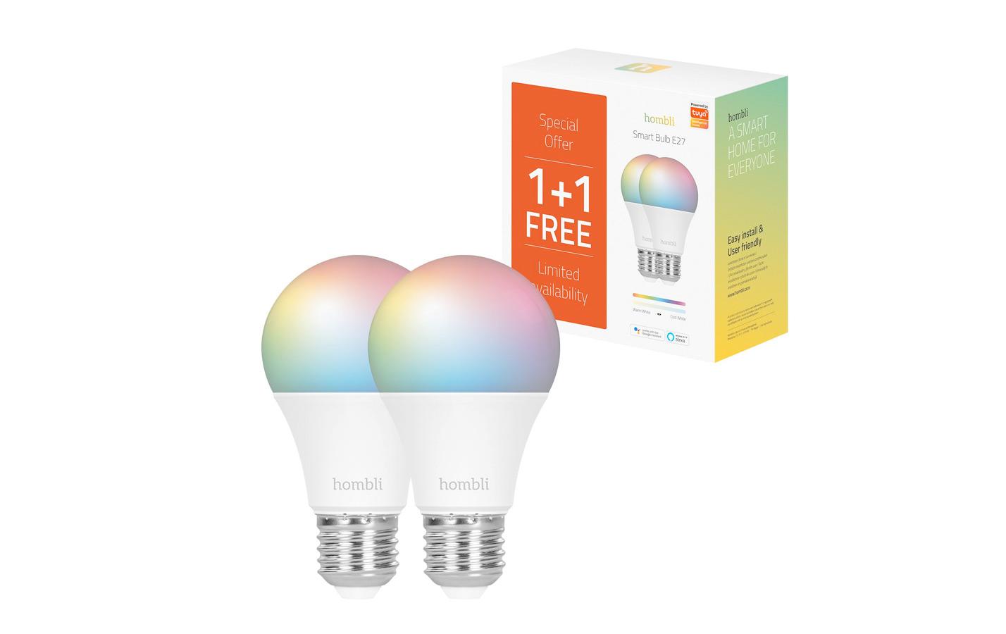 Hombli Slimme RGBW Lamp E27 WiFi 1 + 1 gratis
