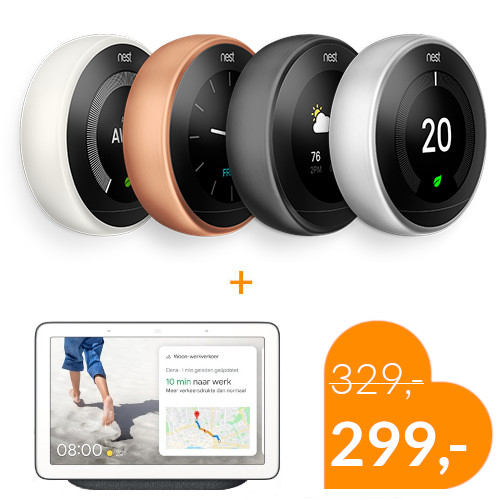 Google Nest Thermostaat + Nest hub voordeelbundel