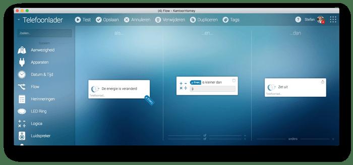 Homey | Flow editor voorbeeld slimme tussenstekker