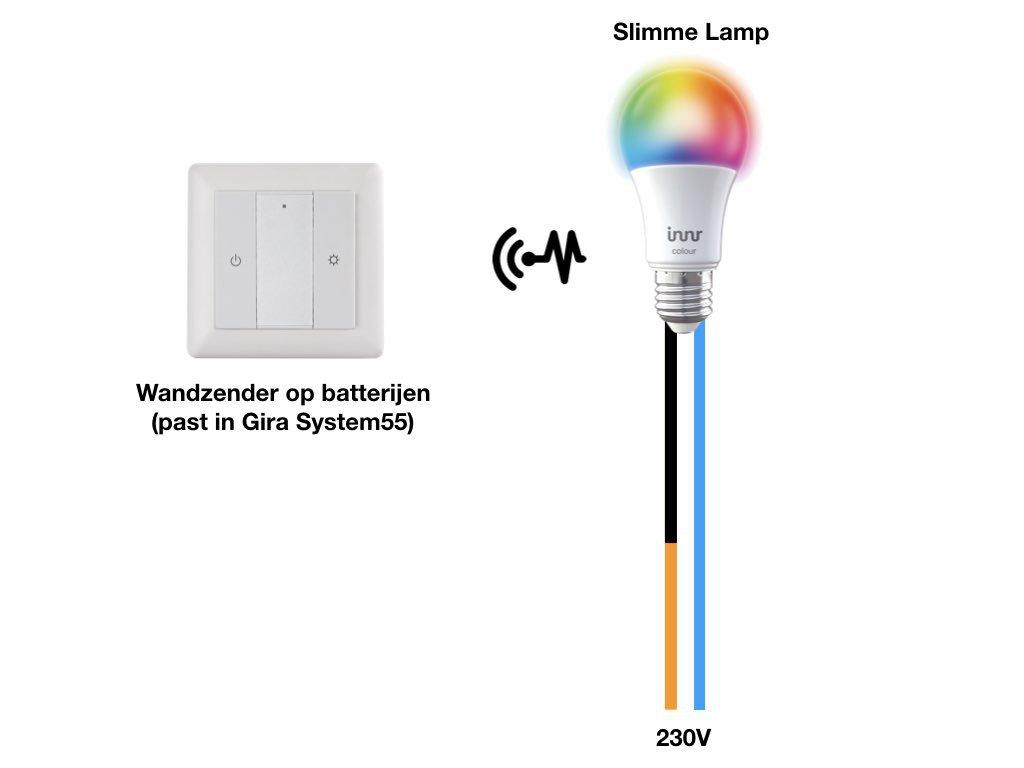 De slimme lamp bedienen met een draadloze wandzender op batterijen