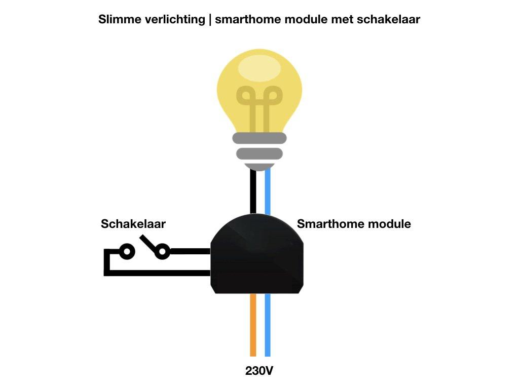 Slimme verlichting | Lamp bedienen met schakelaar en slimme inbouwmodule
