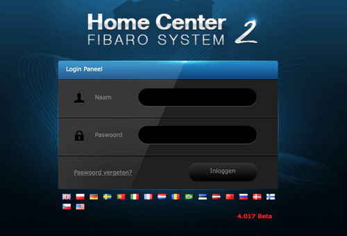 FIBARO Home Center login scherm