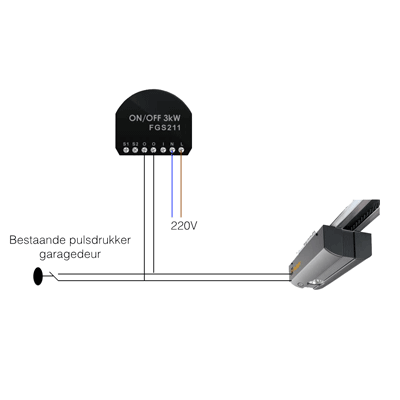 Electrisch schema z-wave Domotica garagedeur