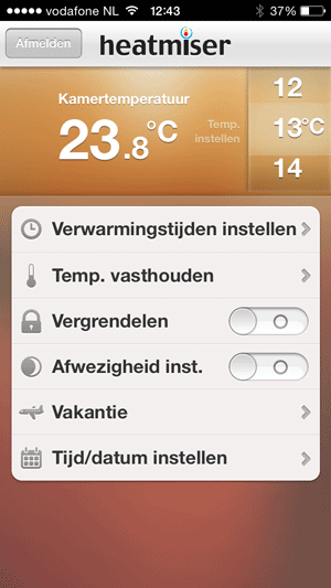 Heatmiser Neo App iphone