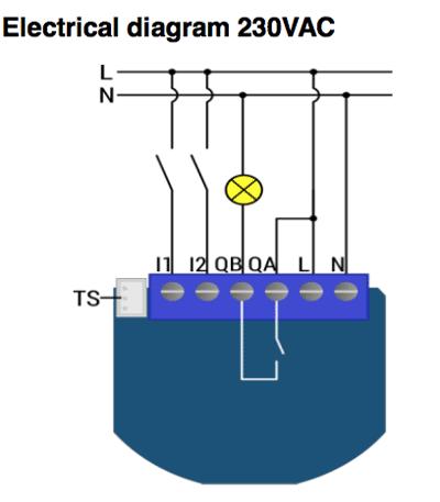 Qubino 1D 230V aansluitschema