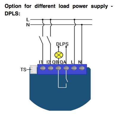 Qubino 1D relais aansluitschema potentiaalvrij