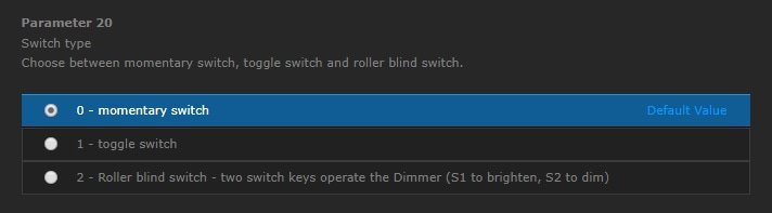 FIBARO Dimmer settings Parameter 20
